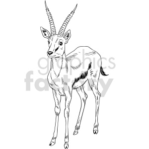 clipart - black and white gazelle vector clipart.