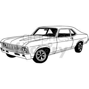 black and white muscle car vector clipart clipart. Commercial use image # 416193