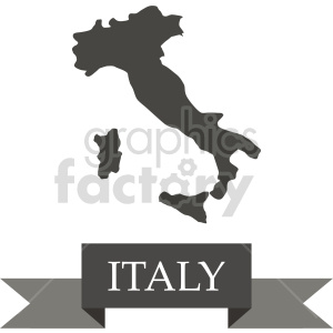 clipart - italy outline with banner vector clipart.