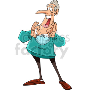 cartoon senior removing mask vector clipart clipart. Commercial use image # 416724
