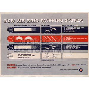 WWII New Air Raid Warning System Poster clipart. Royalty-free image # 152902