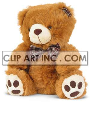 brown teddy bear with a brown plaid bow and ear photo. Royalty-free photo # 177422