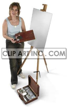 artist female painter paint wooden easel canvas brush paintbrush sitting working work contemplating thinking looking artists painting creativity hobby hobbies   3A0019lowres Photos People