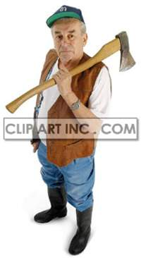 woodcutter cutting axe trees trunk housework maintaining retired man male   3d2001lowres photos people