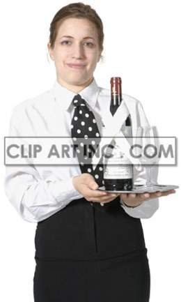 a woman in waitress uniform holding a tray with a bottle and glasses
