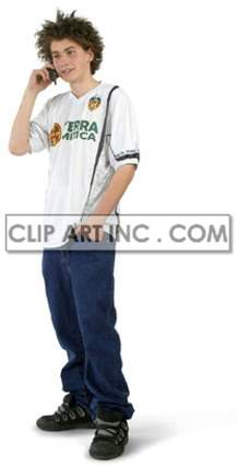 A Teenage Boy Standing while on His Cell Phone clipart. Royalty-free image # 177499
