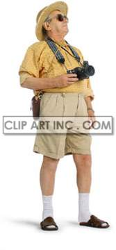 tourist travelling excursionist vacationist beach sea summer binoculars camera shorts yellow shirt espadrille  Photos People