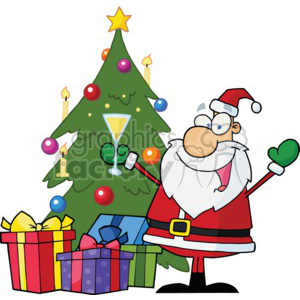 Santa having a Christmas drink clipart. Commercial use image # 377814
