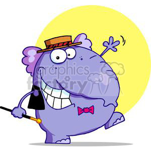 A whacky dancing elephant with hat and cane grinning clipart. Royalty-free image # 377974