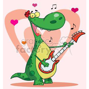 Dinosaur Plays Guitar with Hearts Background