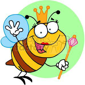 Queen Bee with Golden Crownd the Royle Pink Scepter clipart. Royalty-free image # 377984