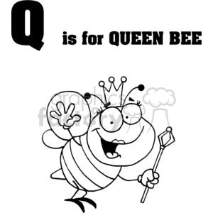 clipart RF Royalty-Free Illustration Cartoon funny character queen bee letter letters q