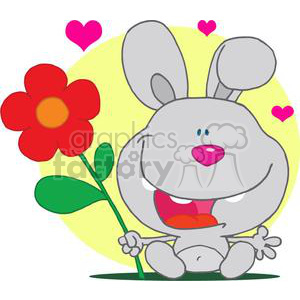 Happy Gray Bunny Holds Red and Orange Flower In Front Of a Yellow background With Three Pink Hearts clipart. Royalty-free image # 378004