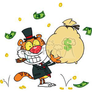 A Grinning Tiger Holds Up A Heeping Bag of Money With Dallors and Coins Falling Around Him clipart. Royalty-free image # 378009