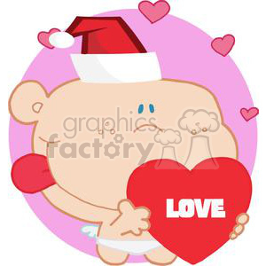 Romantic Cupid with Heart and Santa Hat clipart. Commercial use image # 378029