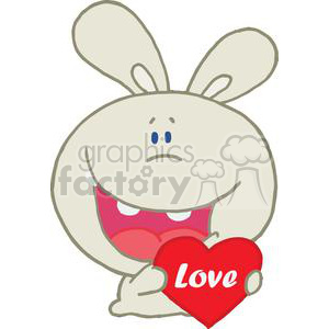 A Grey Romantic Rabbit Holds A Valentines Heart clipart. Royalty-free image # 378034