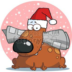 Dog Holds Newspaper in Mouth with Santa Hat clipart. Royalty-free image # 378044