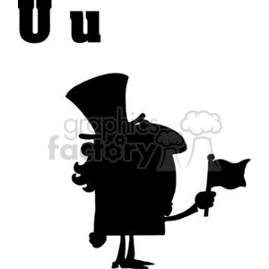 U is for Uncle Sam a black Silhouette on a White Background clipart. Commercial use image # 378059