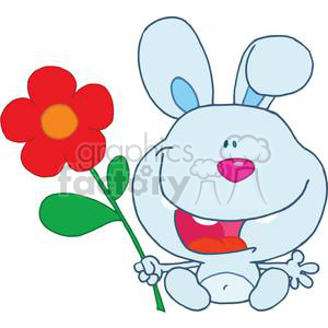 A Happy Bunny holds flower sitting down