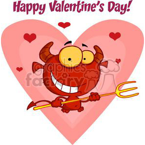 Happy little valentines devil with pitchfork clipart. Commercial use image # 378099