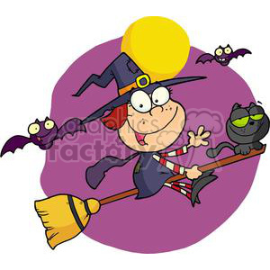 Halloween Little Witch with a Cat and Bats  clipart. Commercial use image # 378104