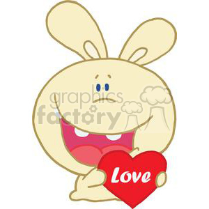Romantic Yellow Rabbit Holds Heart in Hands clipart. Royalty-free image # 378109
