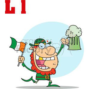 L is for Leprechaun running with a pint of ale and Irish flag clipart. Royalty-free image # 378124