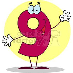 Cartoon Character Happy Number 9 in Red