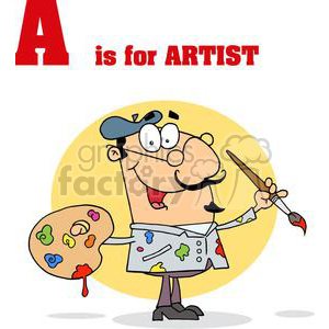 A is for Artist in Red Letters clipart. Royalty-free image # 378144