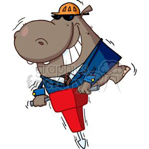 Hippo in Business Suit uses Jackhammer clipart. Royalty-free image # 378149