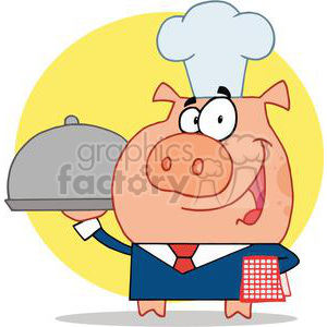 Waiter Pig In A Chefs Hat clipart. Commercial use image # 378154