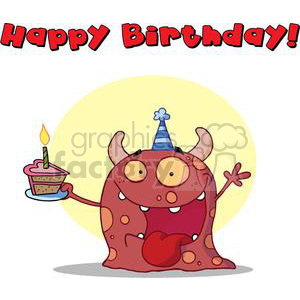 A Happy Red Horned Monster Celebrates Birthday clipart. Royalty-free image # 378159