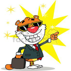 Happy Tiger Pointing Towards Stars of Success clipart. Commercial use image # 378164