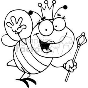 Queen bee with crown holding a wand waving clipart. Commercial use image # 378174