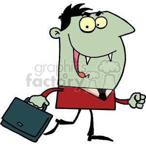 Green Vampire With a Black Briefcase clipart. Commercial use image # 378179
