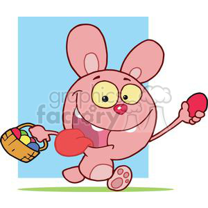 rabbit running and holding up an easter egg and carrying a basket