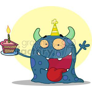 Happy Blue Monster Celebrates First  Birthday With Cake clipart. Royalty-free image # 378214