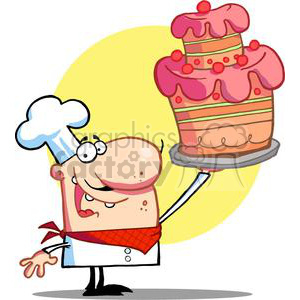 Proud Chef Holds Up Cake With Pink and Green Icing clipart. Royalty-free image # 378229