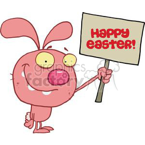 Easter Rabbit Holds Happy Easter! Sign clipart. Royalty-free image # 378244