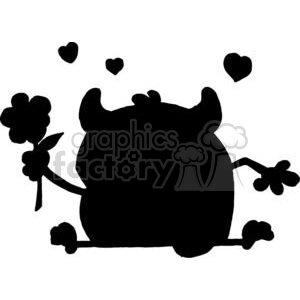 Silhouette Little Monster with Flower and Hearts clipart. Commercial use image # 378249