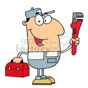 clipart RF Royalty-Free Illustration Cartoon funny character  plumber plumbers construction pipe pipes wrench handyman guy guys Joe
