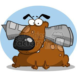 A Goofy Brown Dog Holds Newspaper in Mouth clipart. Commercial use image # 378284