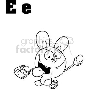 Easter Rabbit in White and out lined in Black clipart. Royalty-free image # 378289