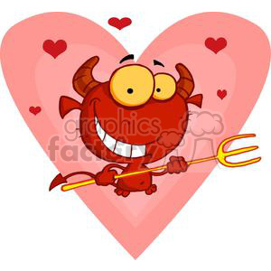 happy little devil with pitchfork in front of a big heart clipart. Royalty-free image # 378304