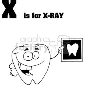A happy tooth hold a x ray of a tooth in black and white clipart. Royalty-free image # 378314