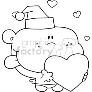 romantic cupid with heart wearing a santa hat clipart. Royalty-free image # 378319
