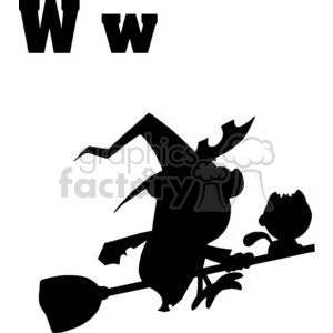 Alphabet Letter W with Silhouette of Witch on Broom clipart. Royalty-free image # 378329