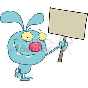 Rabbit Holds Blank Sign clipart. Commercial use image # 378349