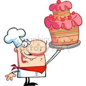 Proud Pastry Chef Holds Up Cake clipart. Royalty-free image # 378364