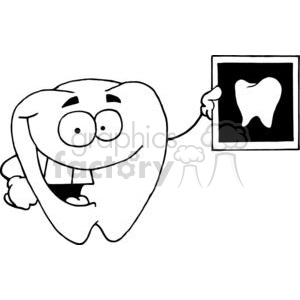Happy tooth holding up an x ray of a tooth clipart. Commercial use image # 378374